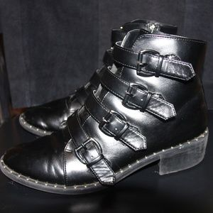 A New Day Nikko Black Combat Boots  Size 10